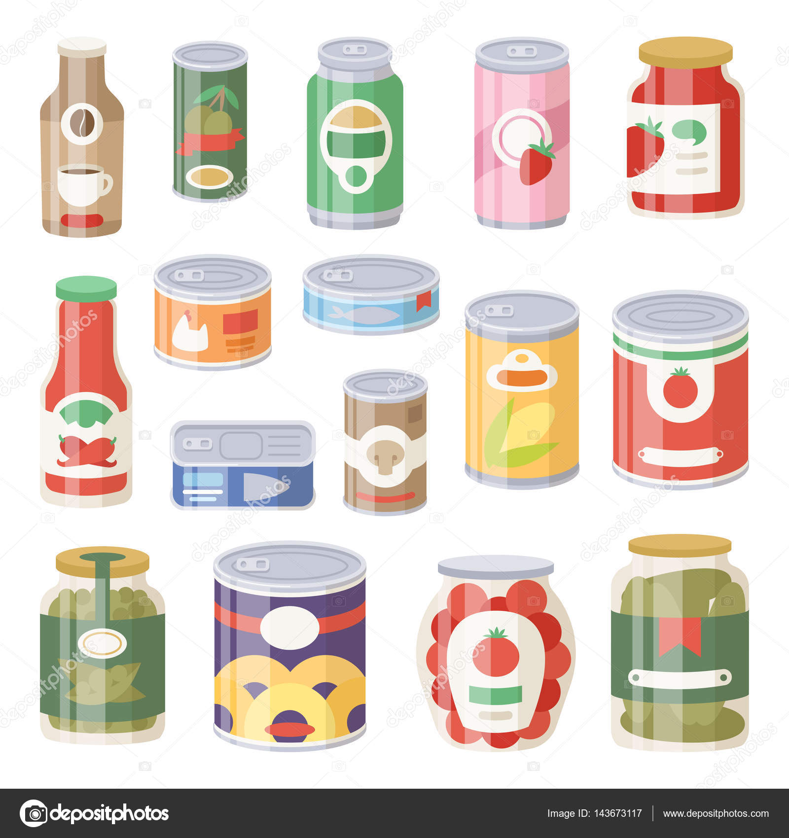 Colección de latas de diferentes conservas productos alimentos ...