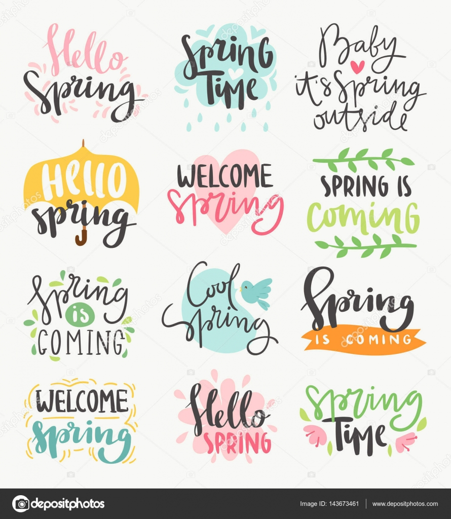 Spring time lettering greeting cards set special spring sale spring time lettering greeting cards set special spring sale typography poster in gold black and white m4hsunfo