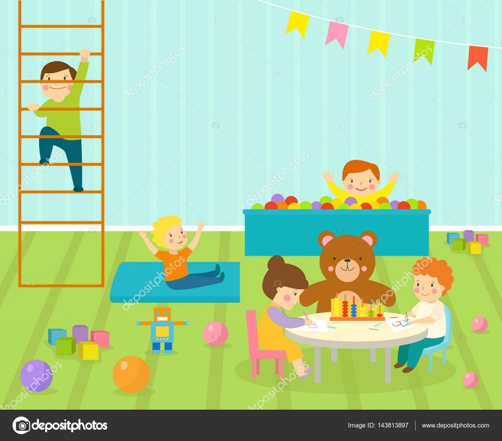 Sala de juegos infantil con luz muebles decoración infantiles y ...