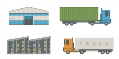 Trucks delivery vehicle warehouse distribution vector.