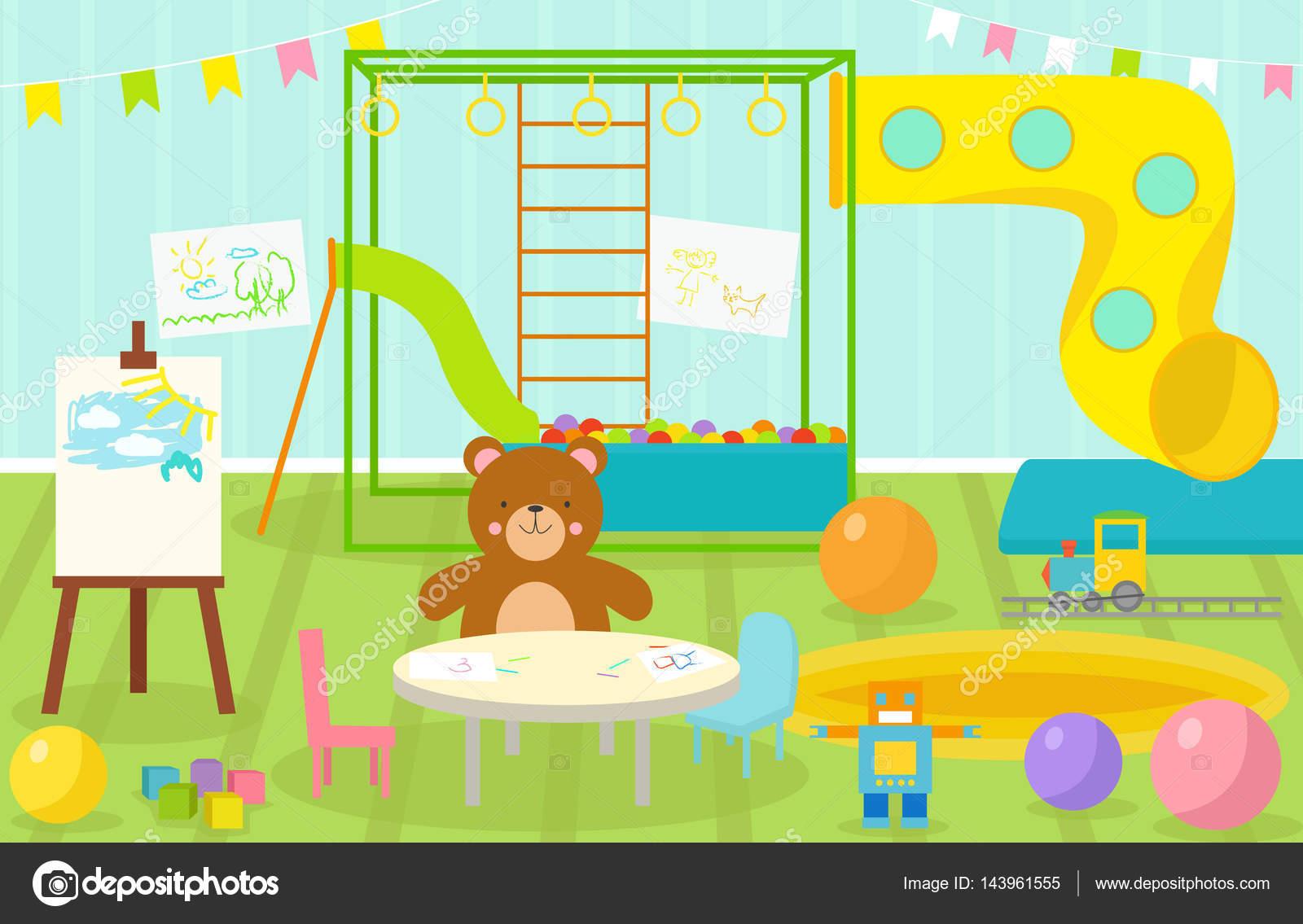 salle de jeux pour enfants avec un mobilier clair d cor aire de jeux et de jouets sur le tapis. Black Bedroom Furniture Sets. Home Design Ideas