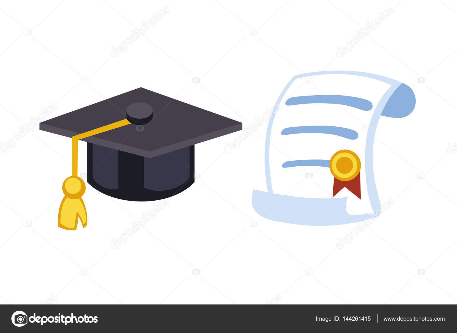 graduation cap diploma hat icon celebration vector illustration university school student ceremony symbol achievement