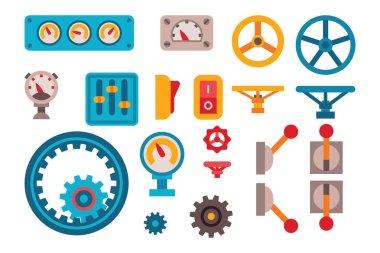 Machine parts different mechanism vector illustration.