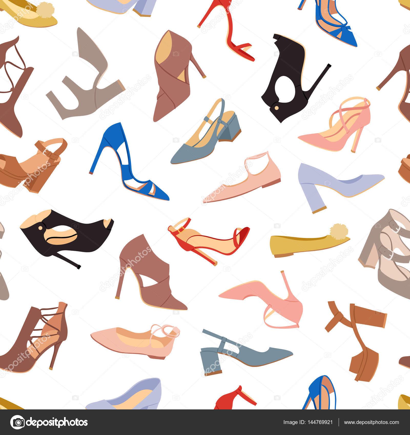 Zapatos de mujer planos fondo de patrones sin fisuras de moda ...