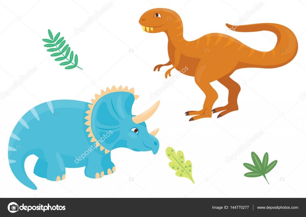 Dibujos animados dinosaurios vector ilustración aislada monstruo ...