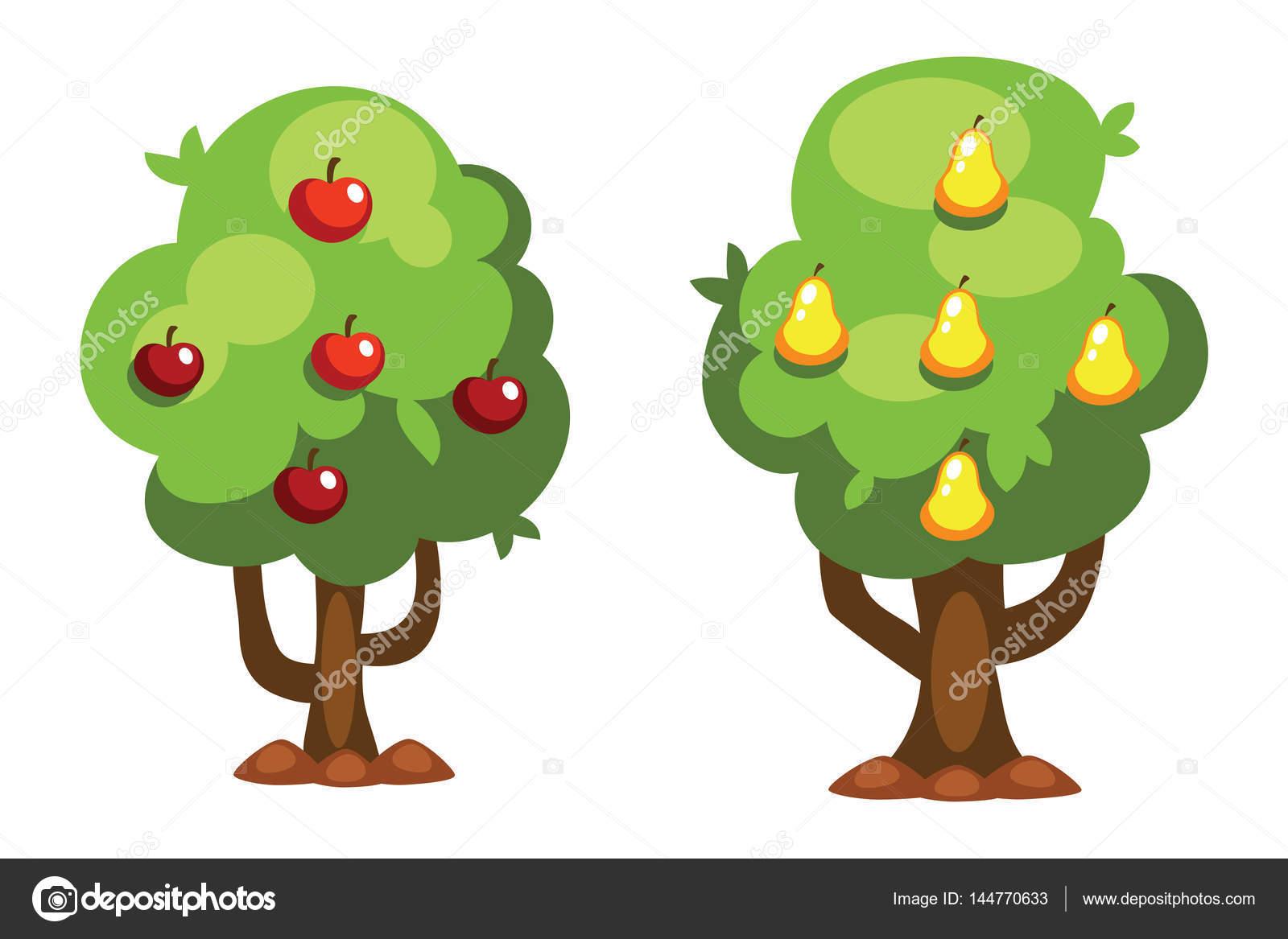 Dibujos Animados De Ilustración De Vector De árbol Pera