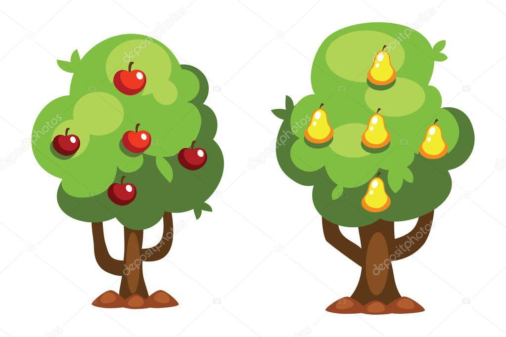 Imagenes De Un Arbol Animado: Dibujos Animados De Ilustración De Vector De árbol Pera