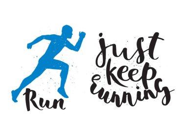 Running man marathon logo jogging emblems label and fitness training athlete symbol sprint motivation badge success work isolated runner vector illustration.