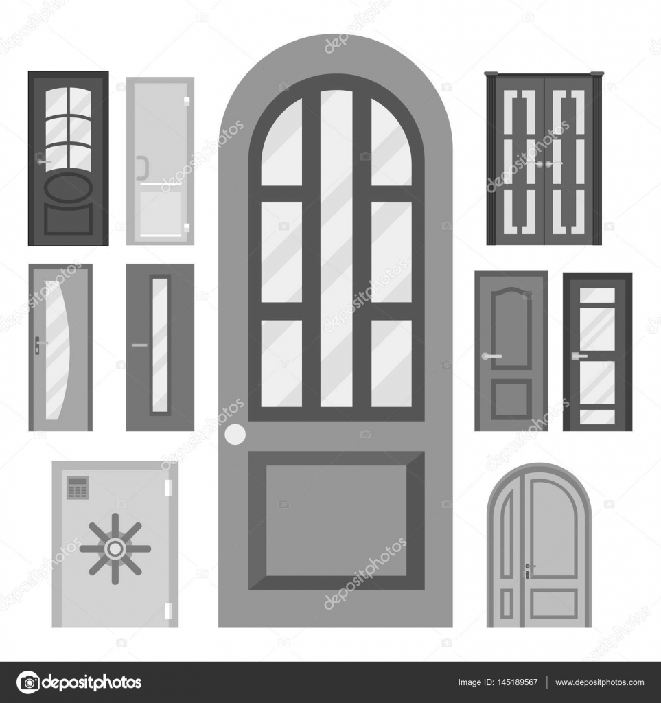 Portes isolées vector illustration entrée porte maison ...