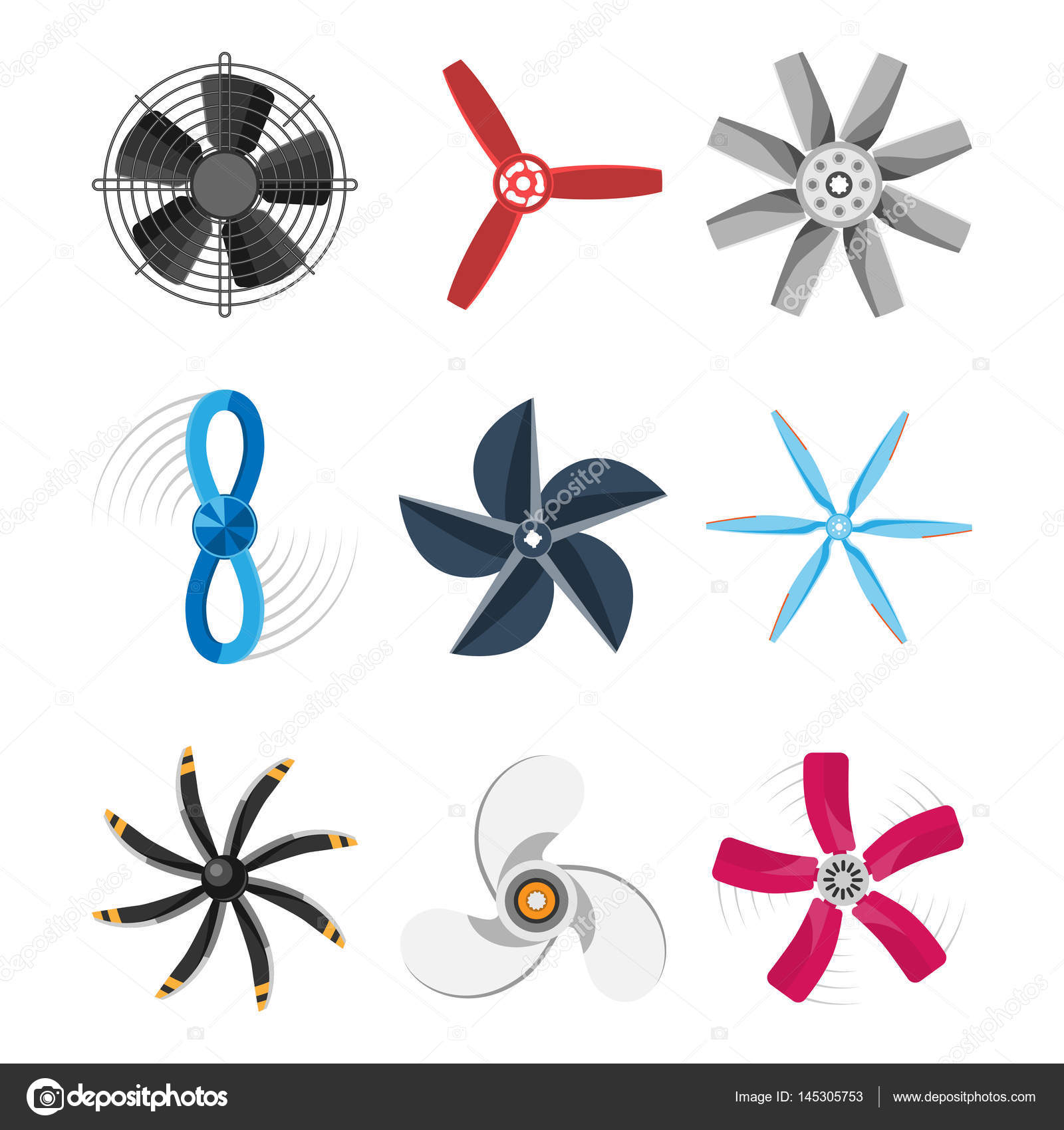 Propeller Ventilator Vektor Illustration Fan Propeller Wind ...