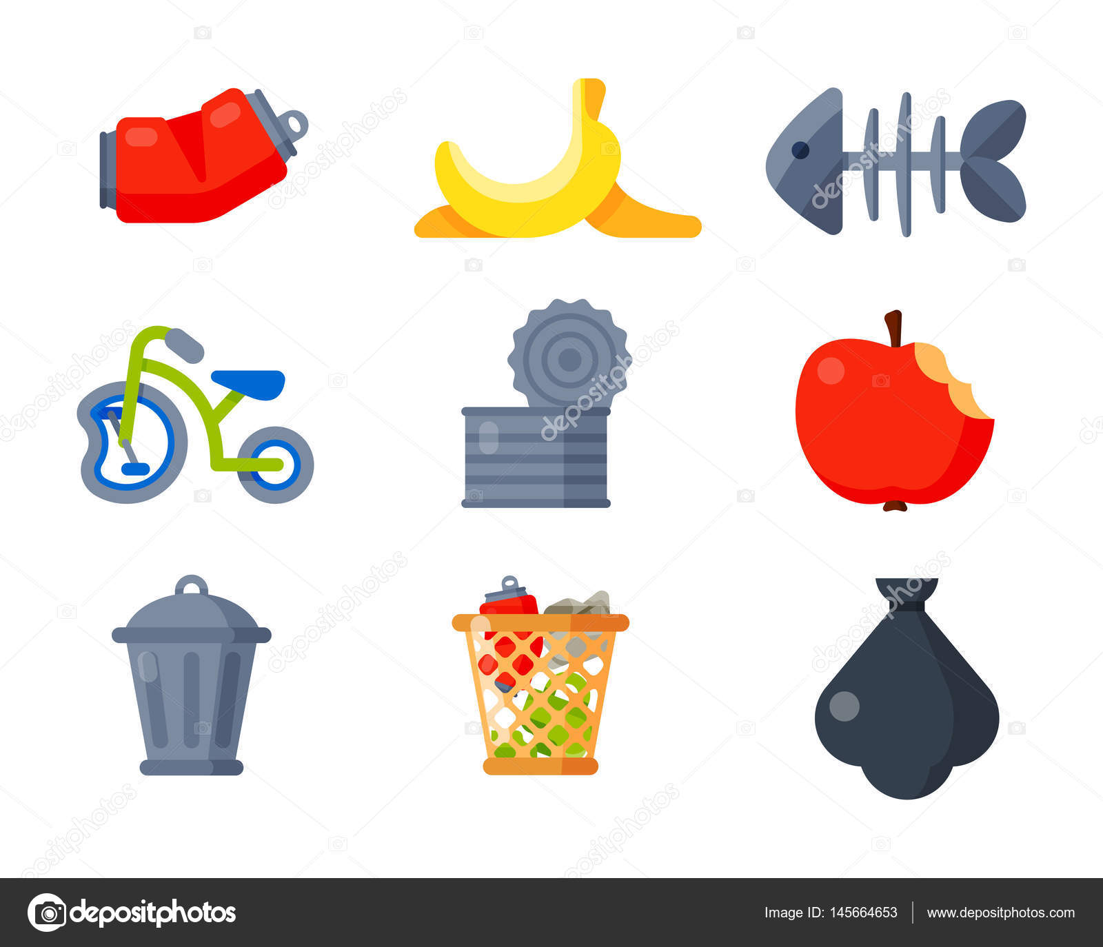 Household waste garbage icons vector illustration trash recycling household waste garbage icons vector illustration trash recycling ecology environment isolated recycle concept plastic paper symbol buycottarizona