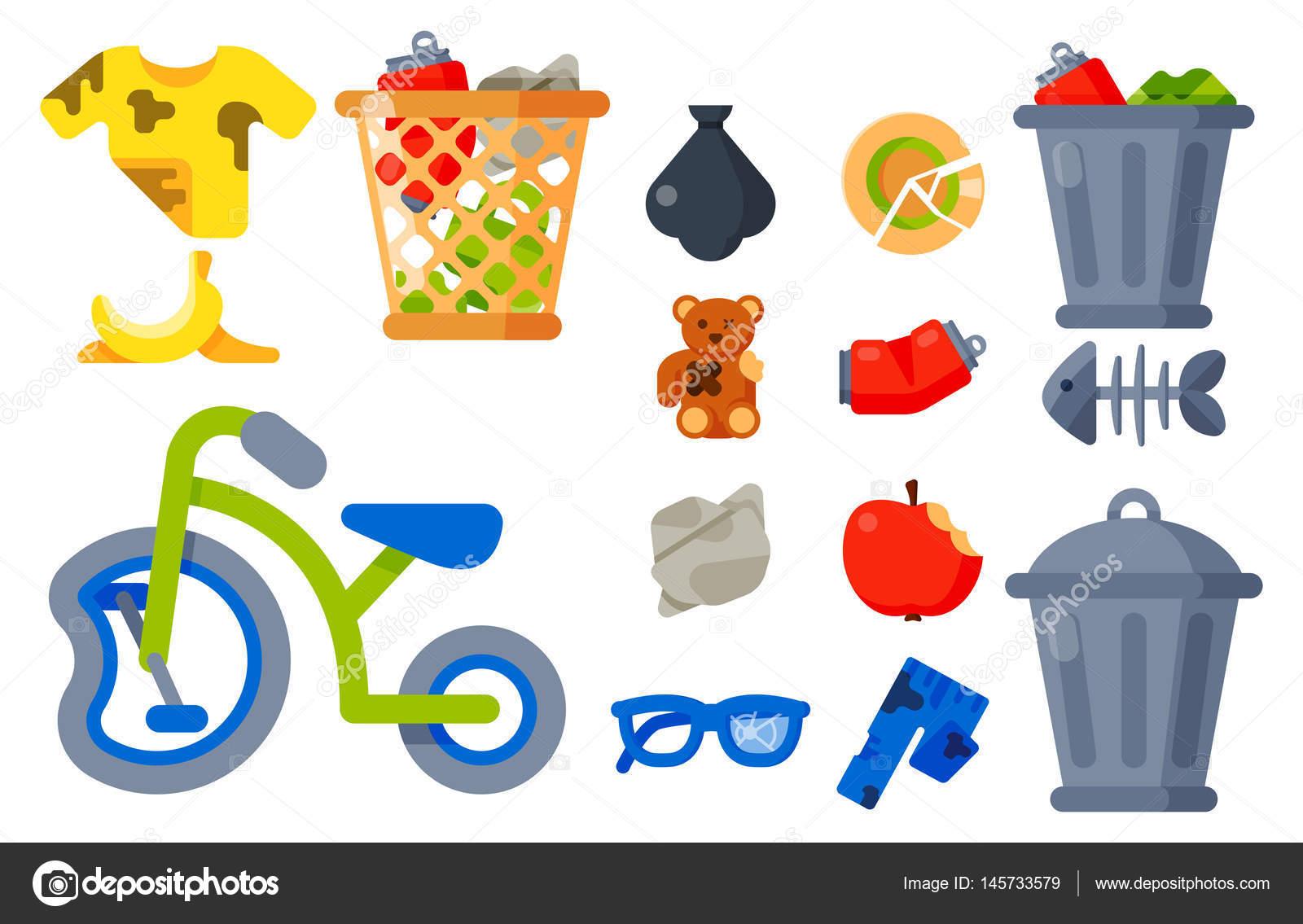 Icones De Lixo Lixo Domestico Lixo Ilustracao Reciclagem Conceito De