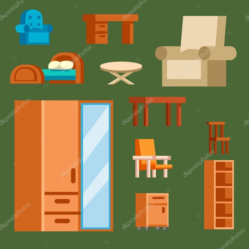 Vector de iconos muebles interiores aislados ilustración viven ...