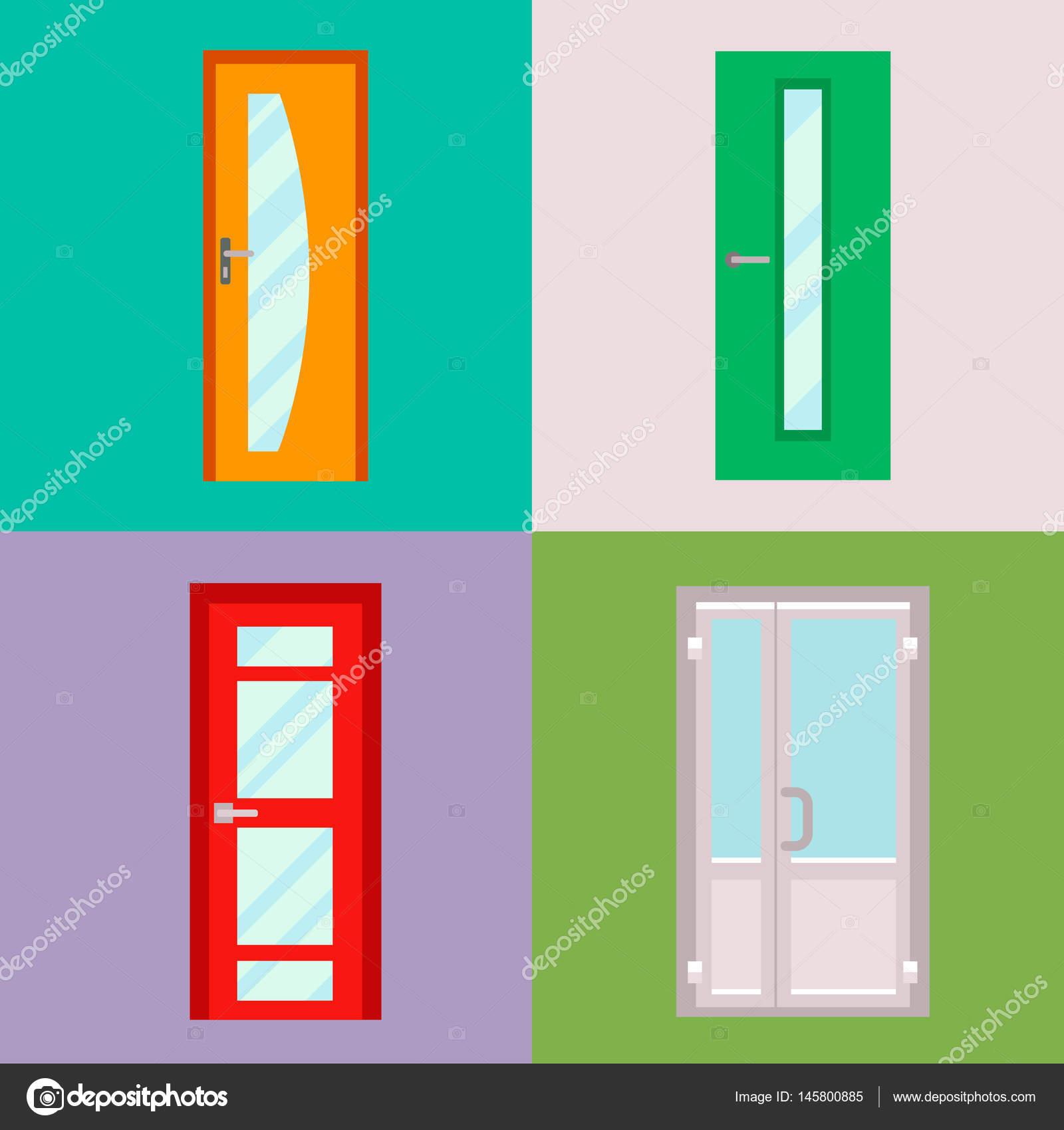 Puertas aisladas vector ilustración entrada puerta casa salida ...