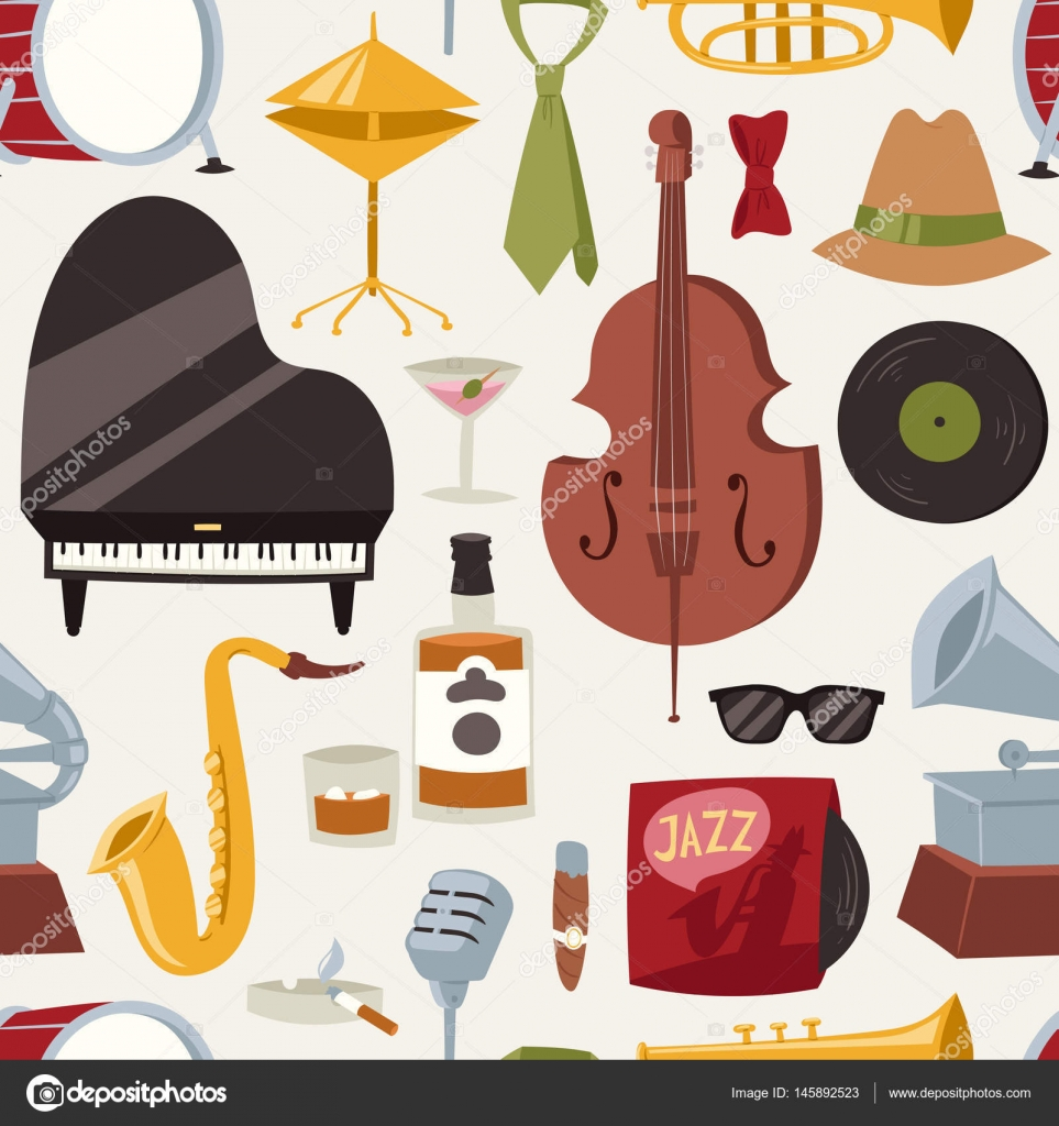 Fashion Jazz Band Music Party Symbols And Musical Instrument Sound