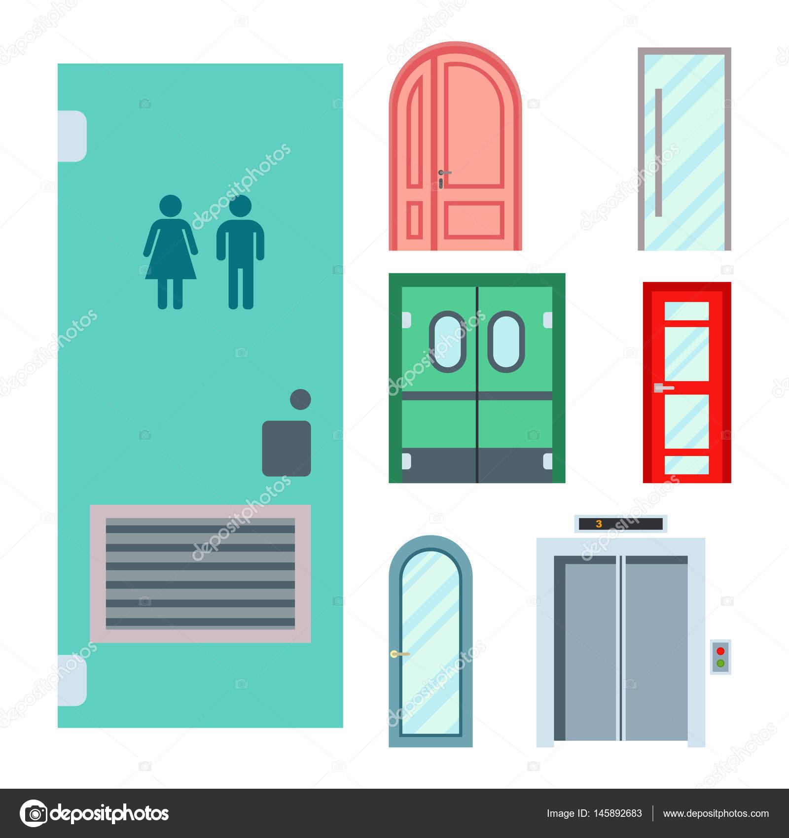 Türen isoliert Vektor Illustration Eingang Tür Haus innen Ausfahrt ...