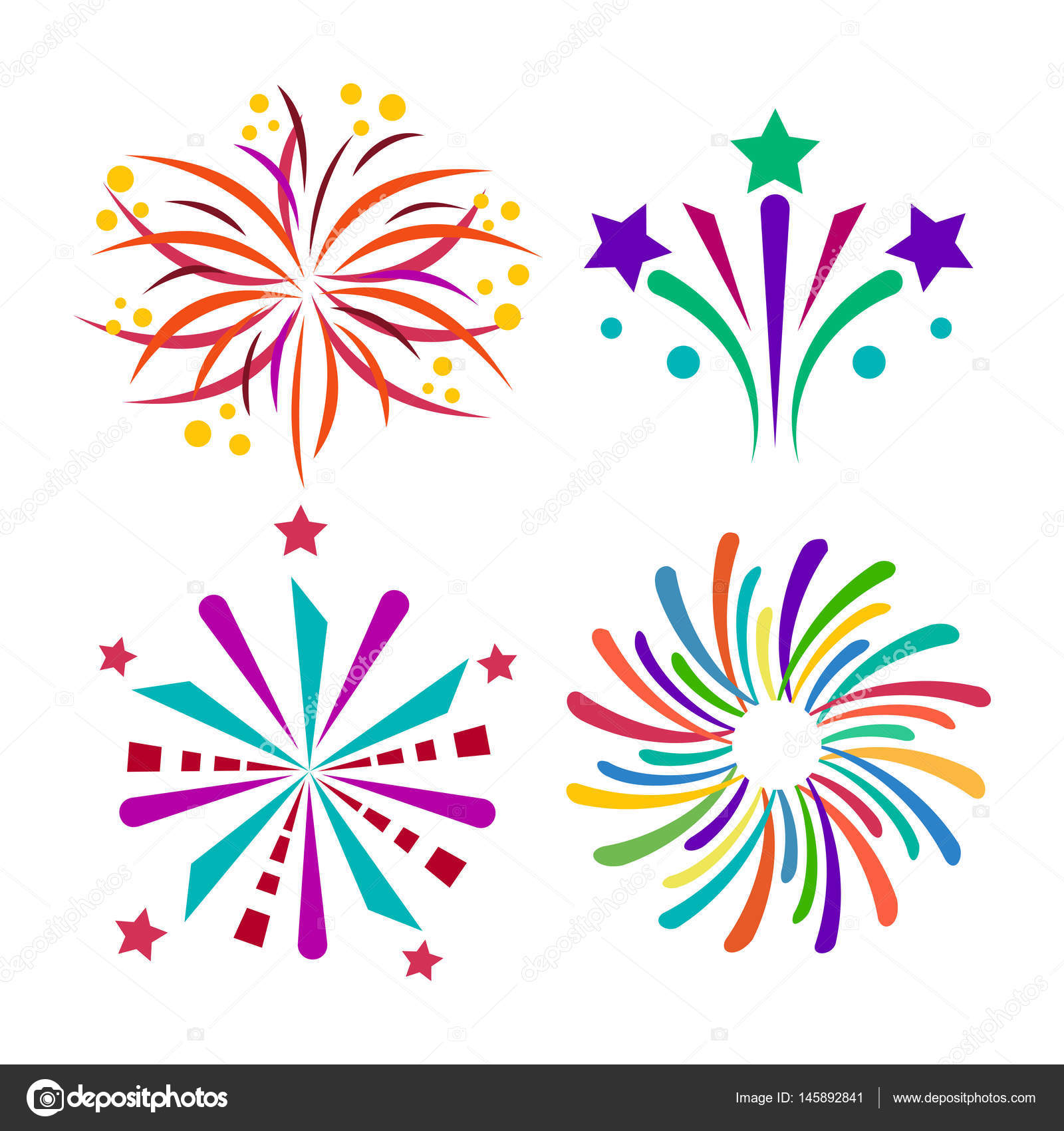 firework vector icon isolated illustration celebration holiday event night new year fire festival explosion light festive