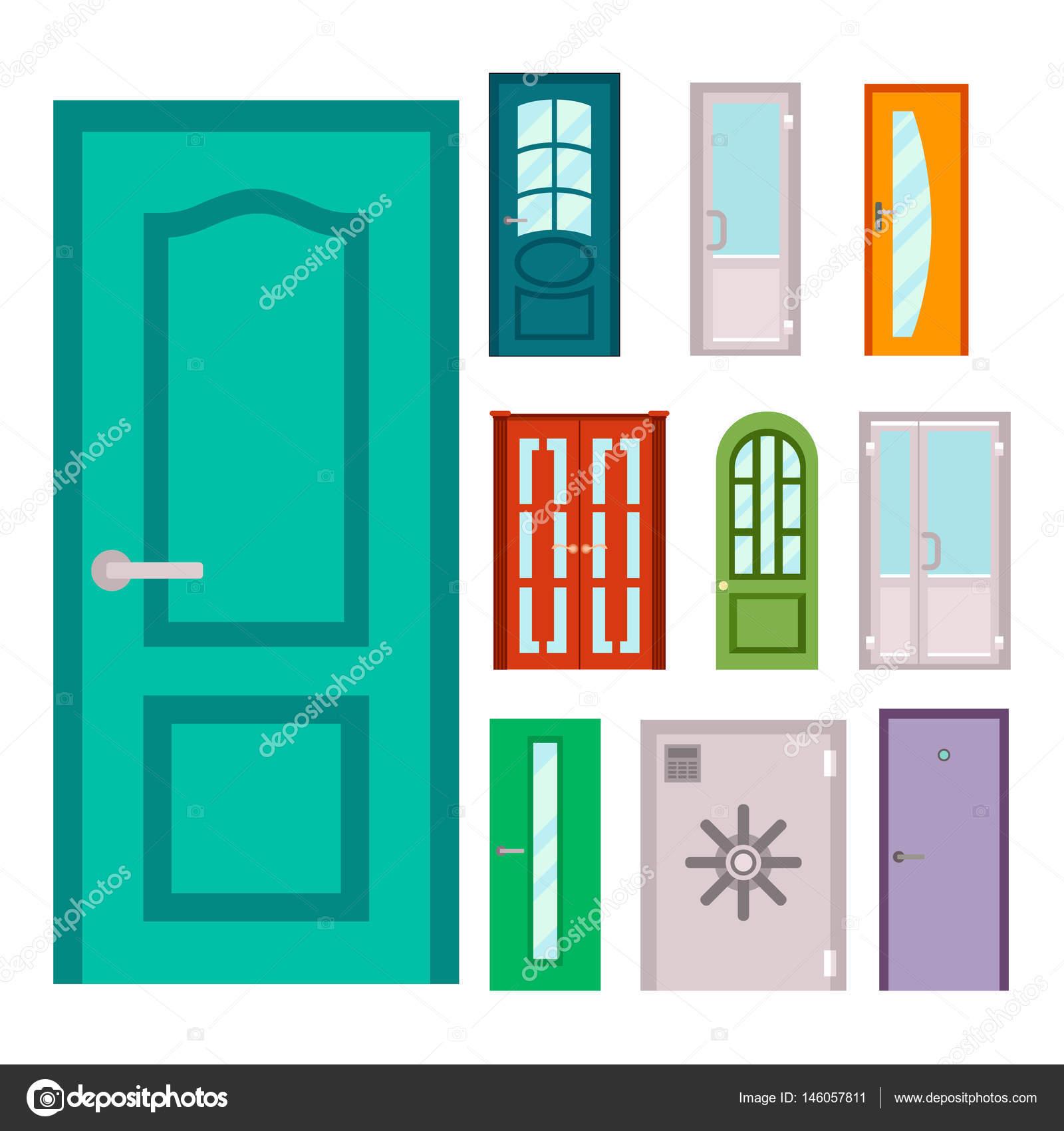 Jeu De Portes De Couleur. Portes Colorées Aux Maisons Et Aux Bâtiments En  Style Design Plat Isolé. Vector Illustration Portes Isolées Nouvelle  Décoration ...