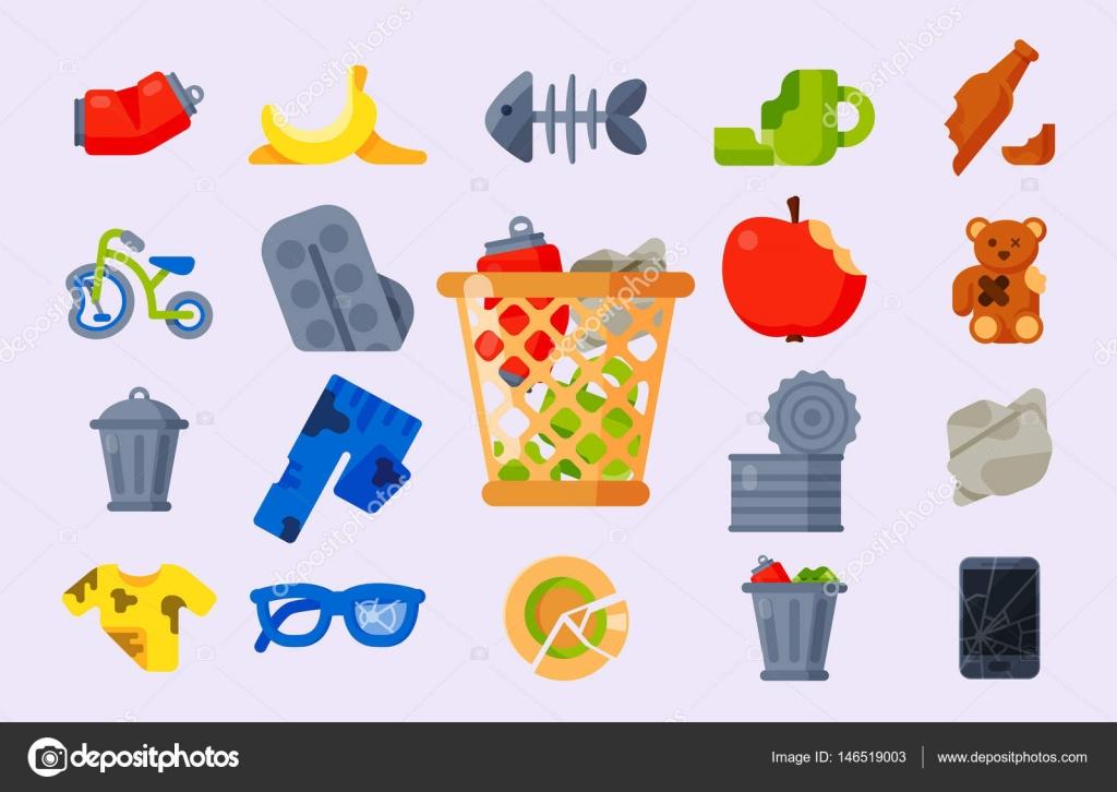 Vector De Iconos Basura Residuos Basura Ilustración