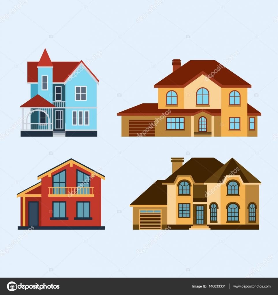 Ilustra o em vetor vista frontal casas constru o for Casa moderna vector