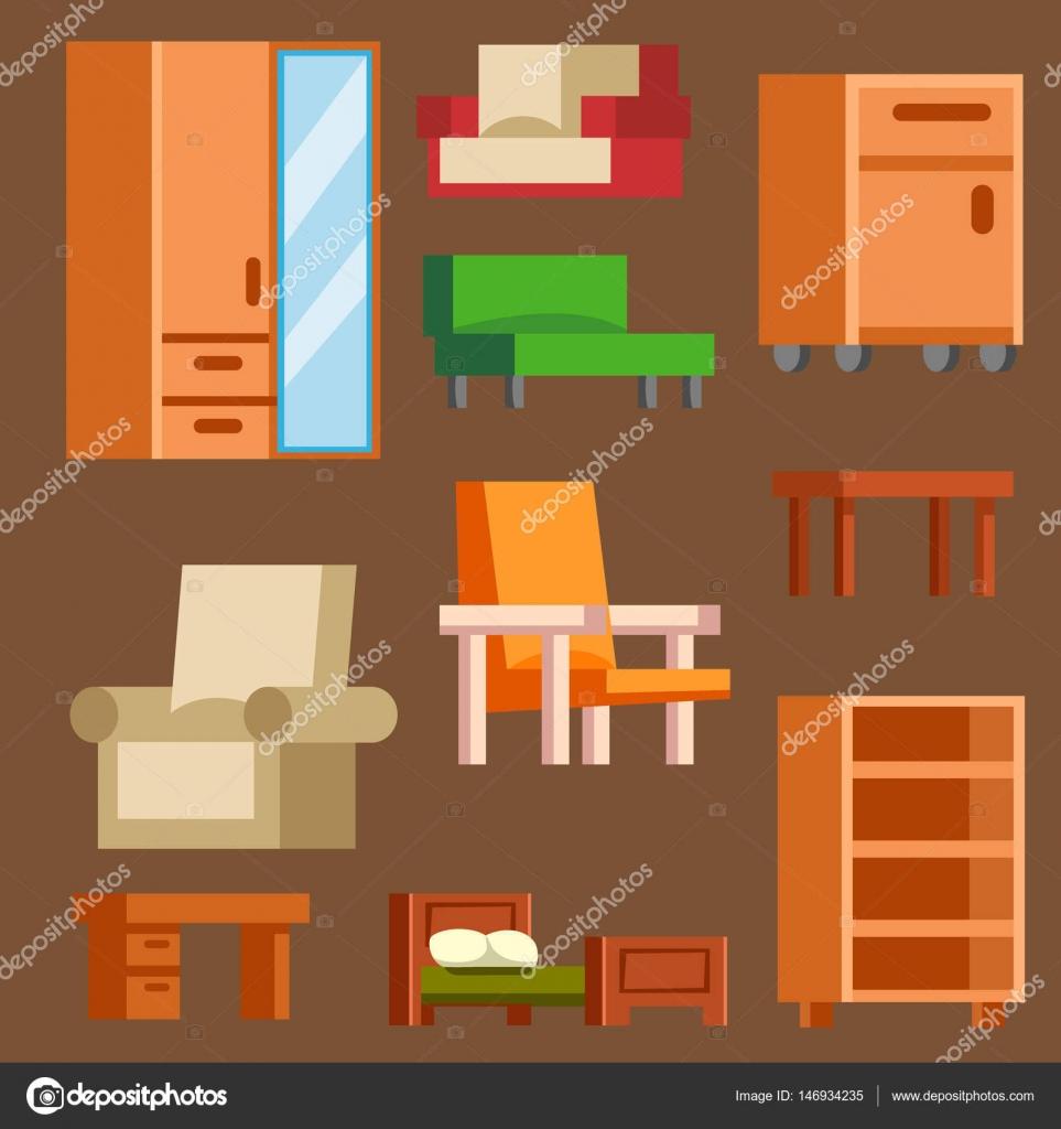 Möbel Und Wohnkultur Icon Set Vektor Illustration. Indoor Gehäuse Innenraum  Bibliothek, Office Bücherregal Möbel Symbole. Moderner Schrank Schlafzimmer  ...