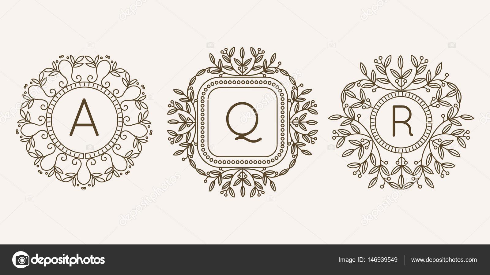 Monograma logotipo y texto insignia emblema línea arte vector ...