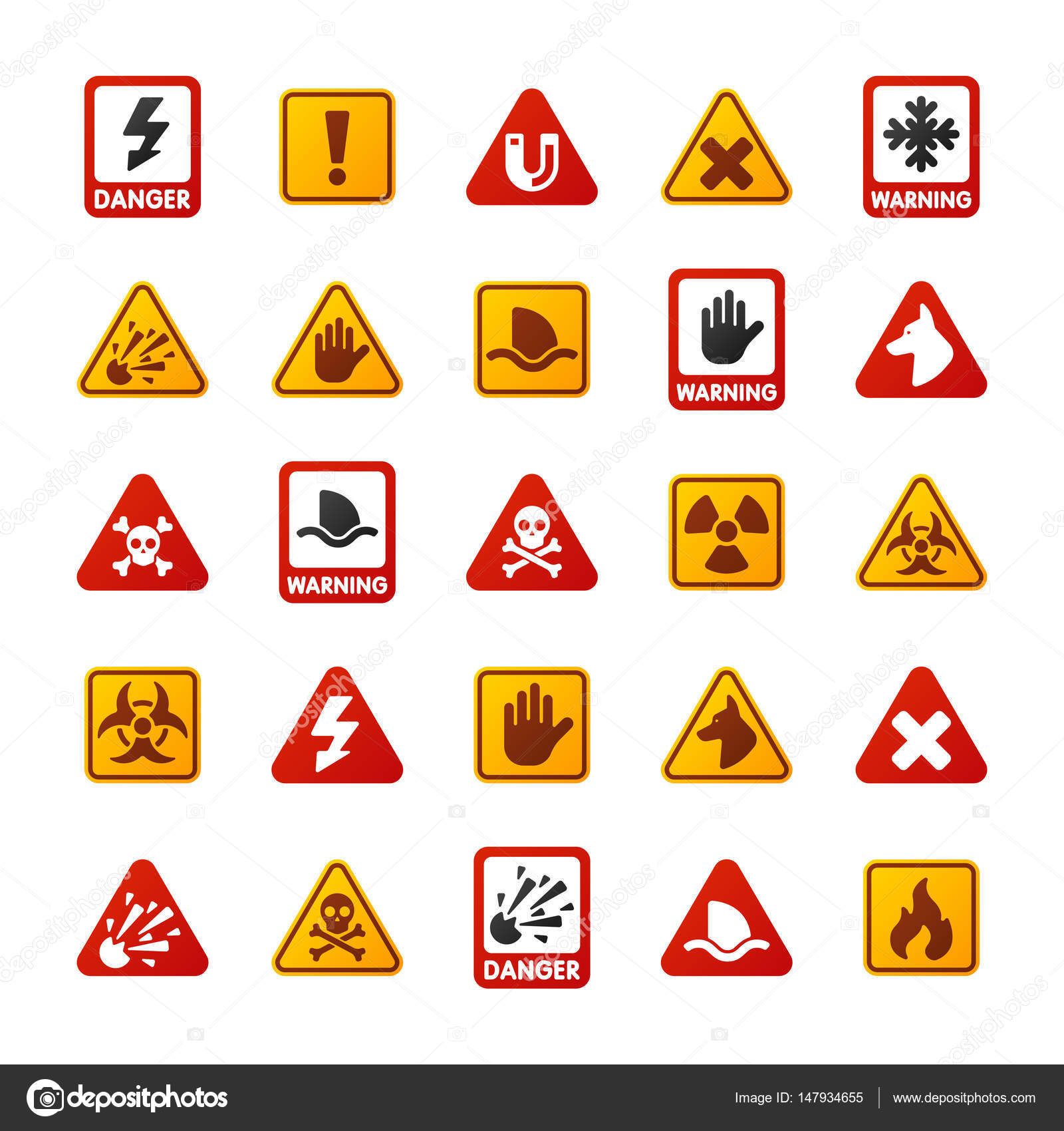 Prohibition signs set industry production vector yellow red prohibition signs set industry production vector yellow red warning danger symbol forbidden safety information and protection biocorpaavc Gallery