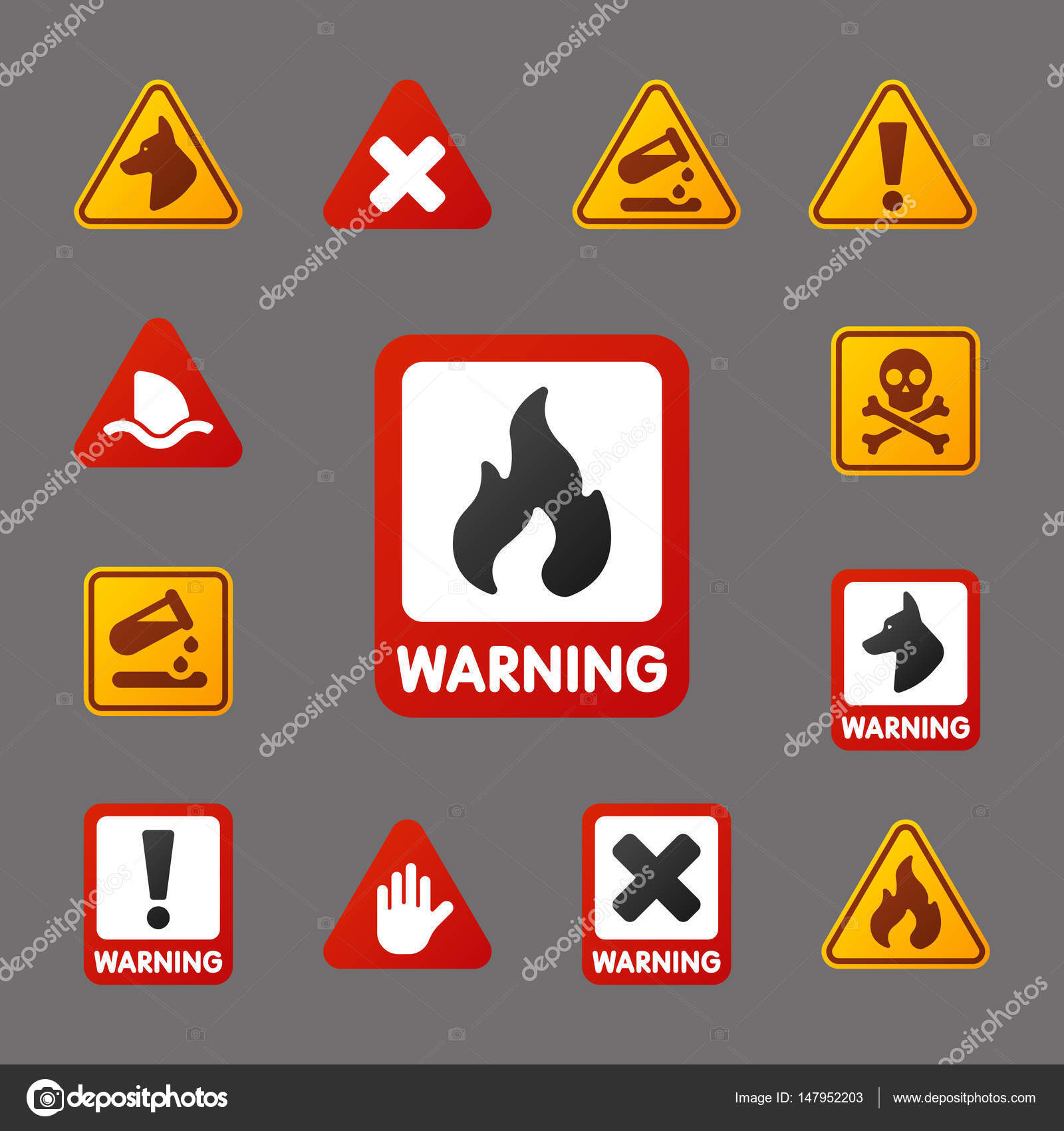 Prohibition signs set industry production vector yellow red prohibition signs set industry production vector yellow red warning danger symbol forbidden safety information and protection buycottarizona