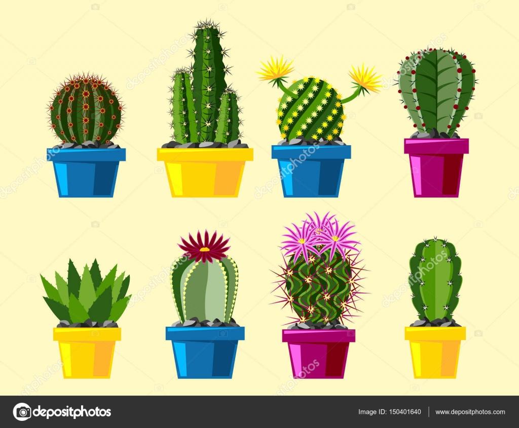サボテン フラット スタイル自然砂漠の花緑漫画デッサン グラフィック