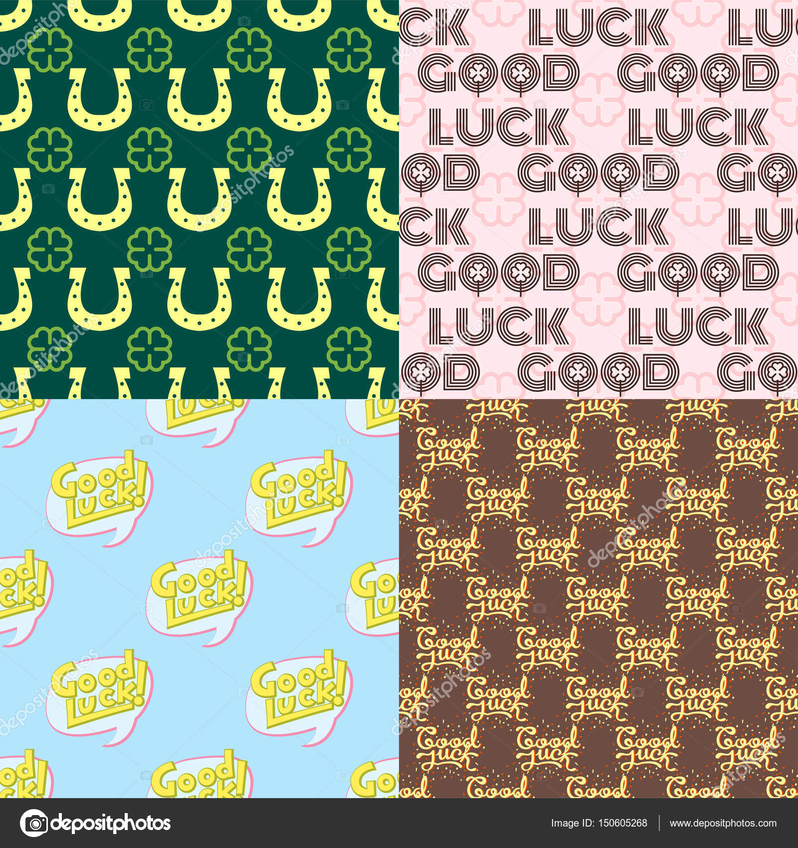 Good Luck Seamless Pattern Farewell Vector Lettering With Lucky