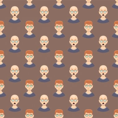 Hair loss stages man seamless pattern and types of baldness illustrated on male head.