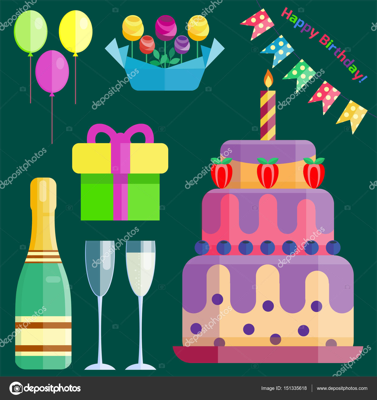 Party Icons Celebration Happy Birthday Surprise Decoration Cocktail Event Anniversary Vector Vector Image By C Vectorshow Vector Stock 151335618