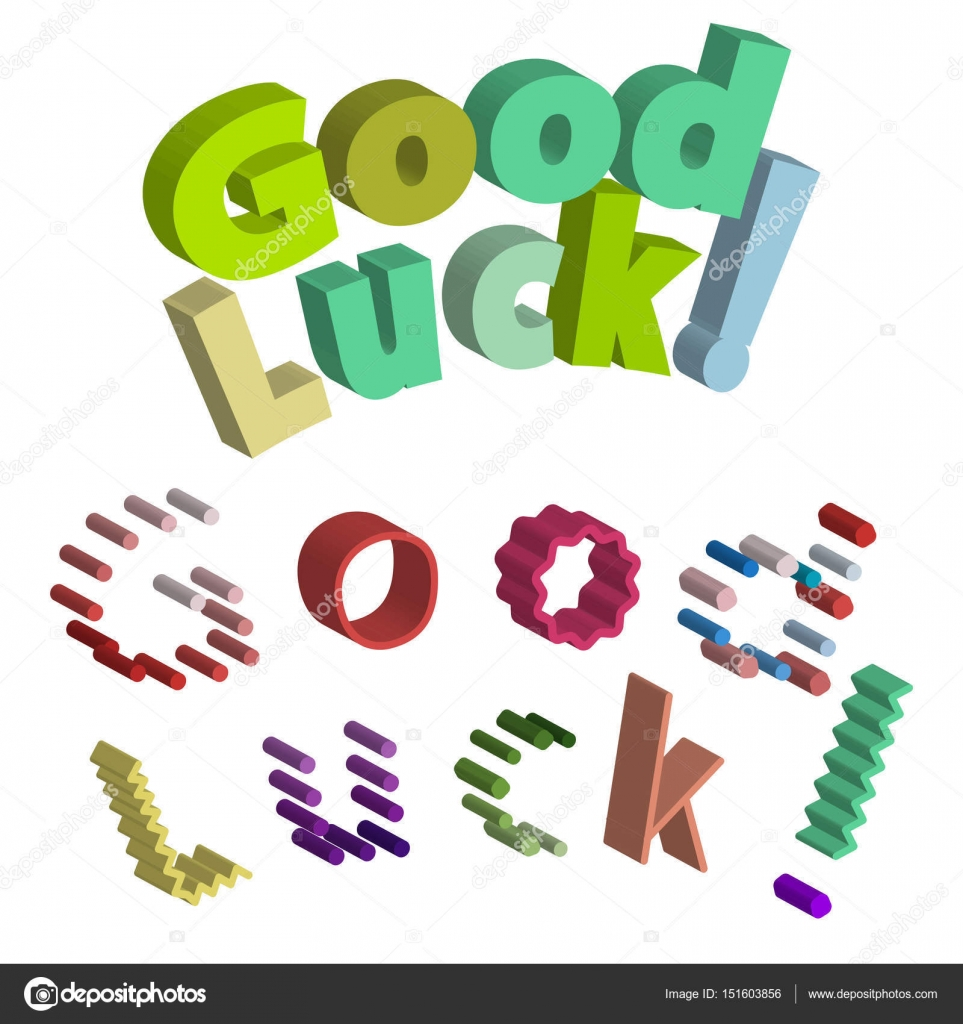 Good luck isometric text farewell vector lettering with lucky good luck isometric text farewell vector lettering with lucky phrase background greeting typography stock kristyandbryce Images