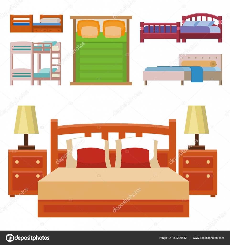 Vector Bed Icon Set Interior Home Rest Collection Sleep Furniture  # Bedtime Muebles