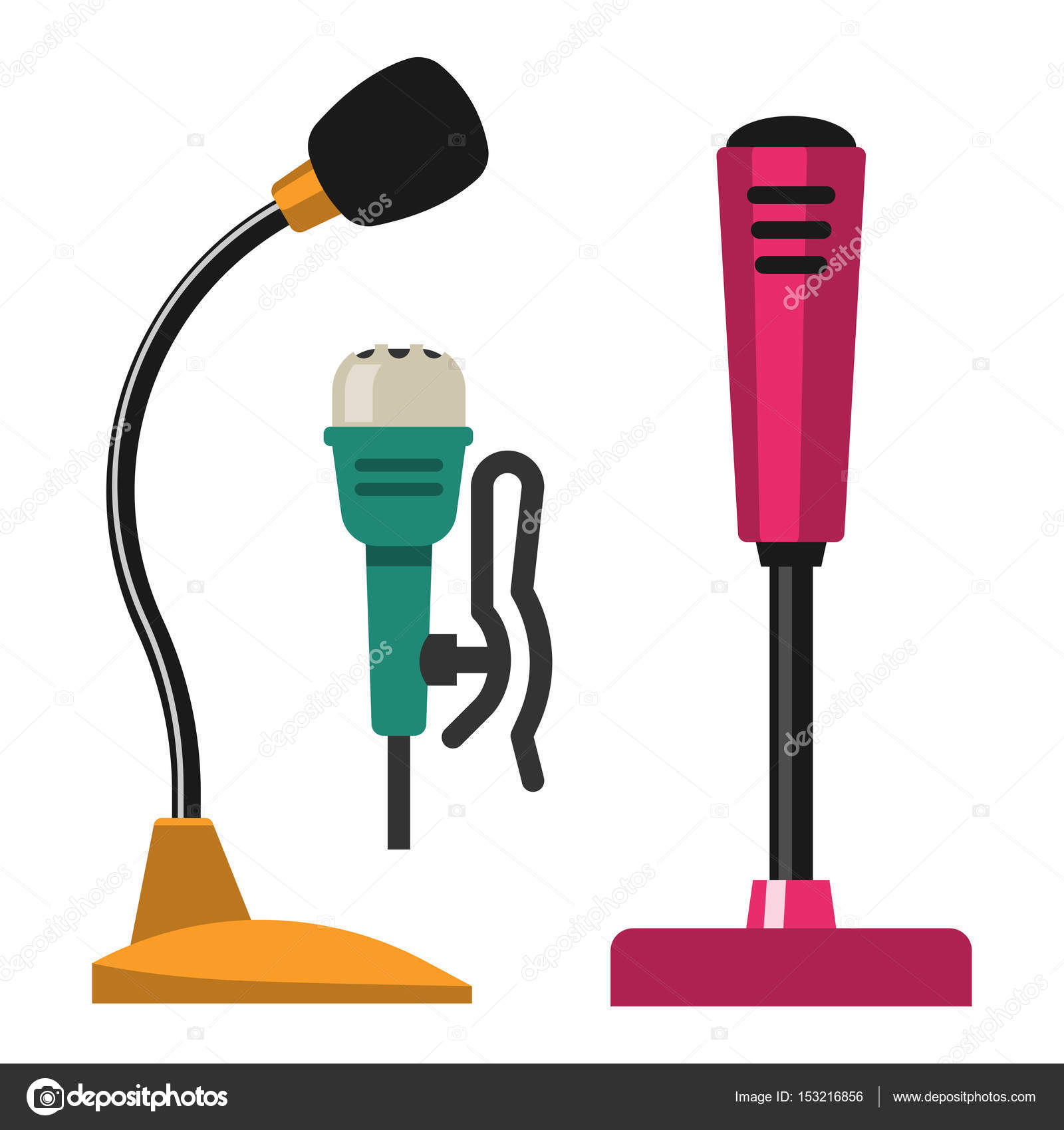 Different microphones types icons journalist vector interview music ...