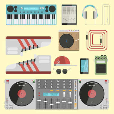 Hip hop accessory musician instruments breakdance expressive rap music dj vector illustration.