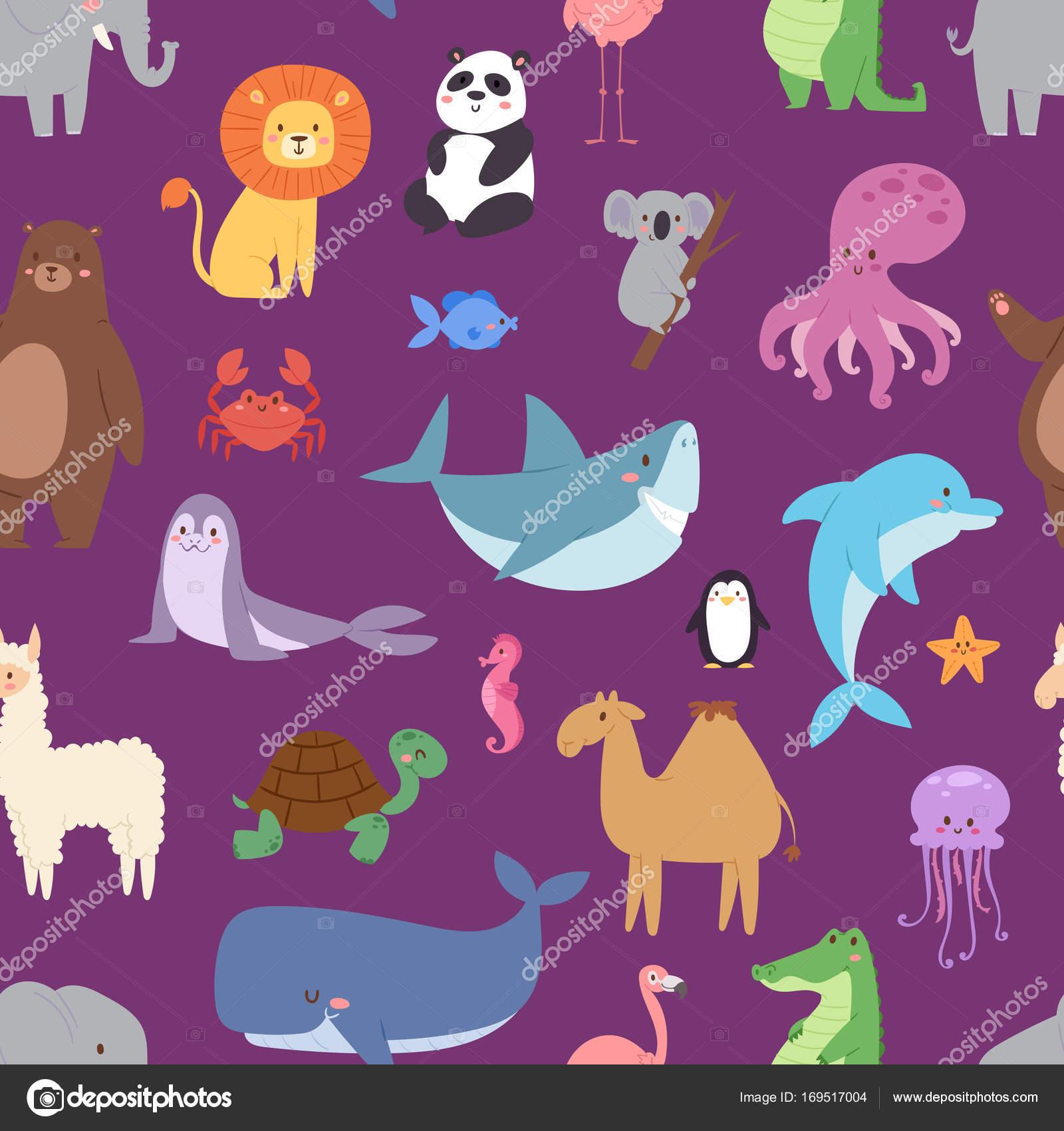 子供イラスト ベクターのシームレス パターンの漫画動物野生動物壁紙