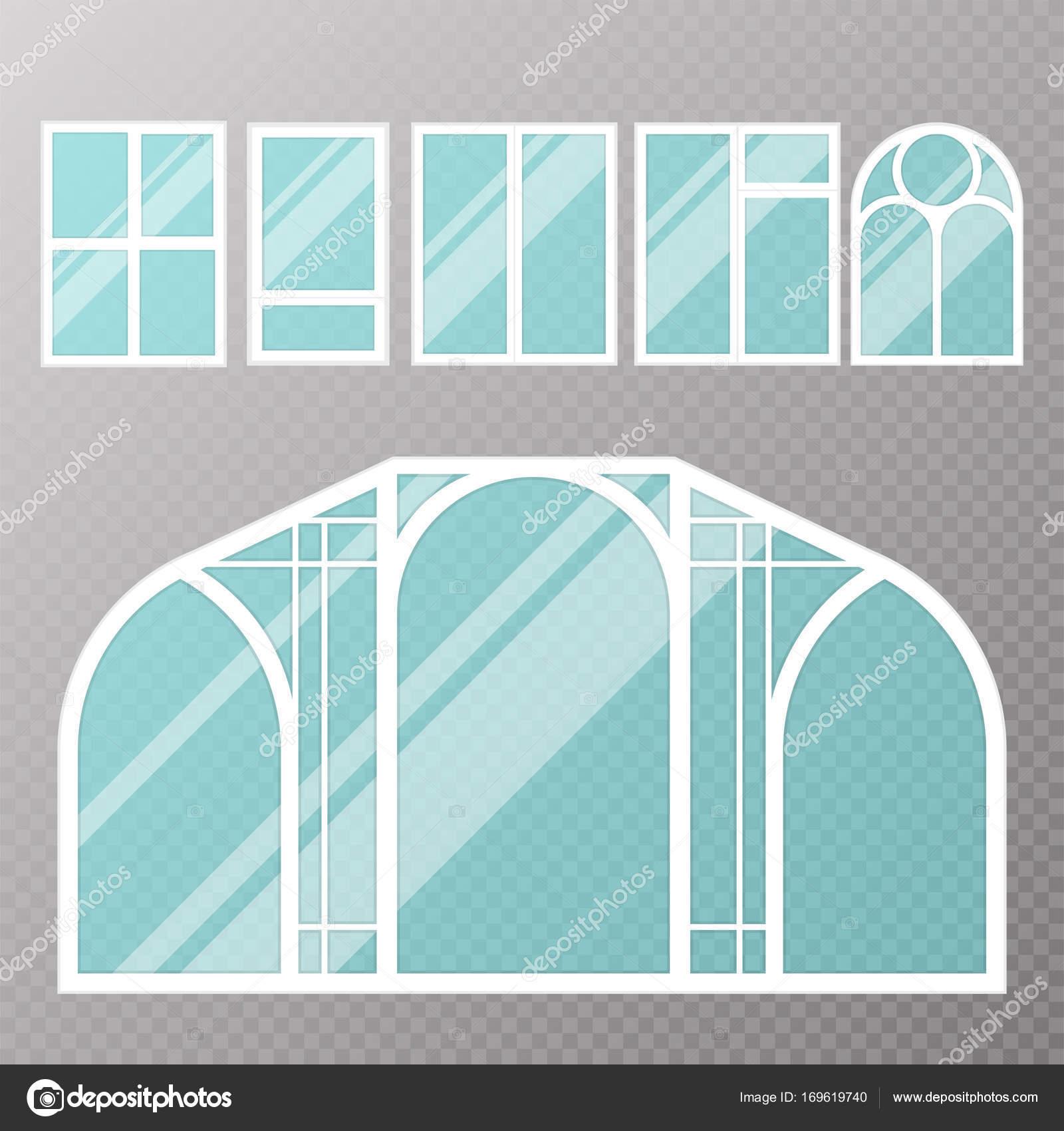 Diferentes tipos de la casa windows elementos estilo plano vidrio ...