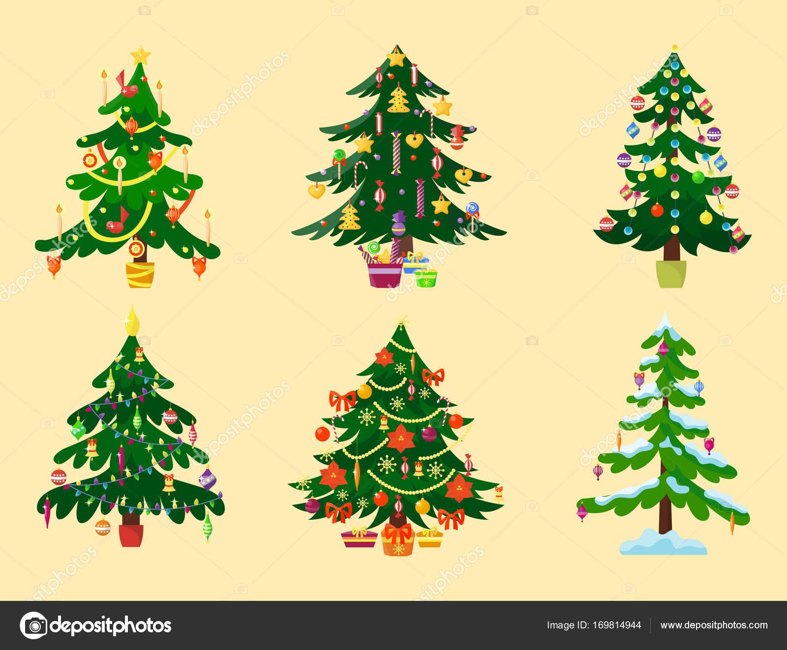 Pino árbol De Dibujos Animados Vector Verde Invierno