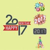 Šťastný nový rok 2017 text návrhu vektorové kreativní grafické oslava pozdrav stran obrázku datum