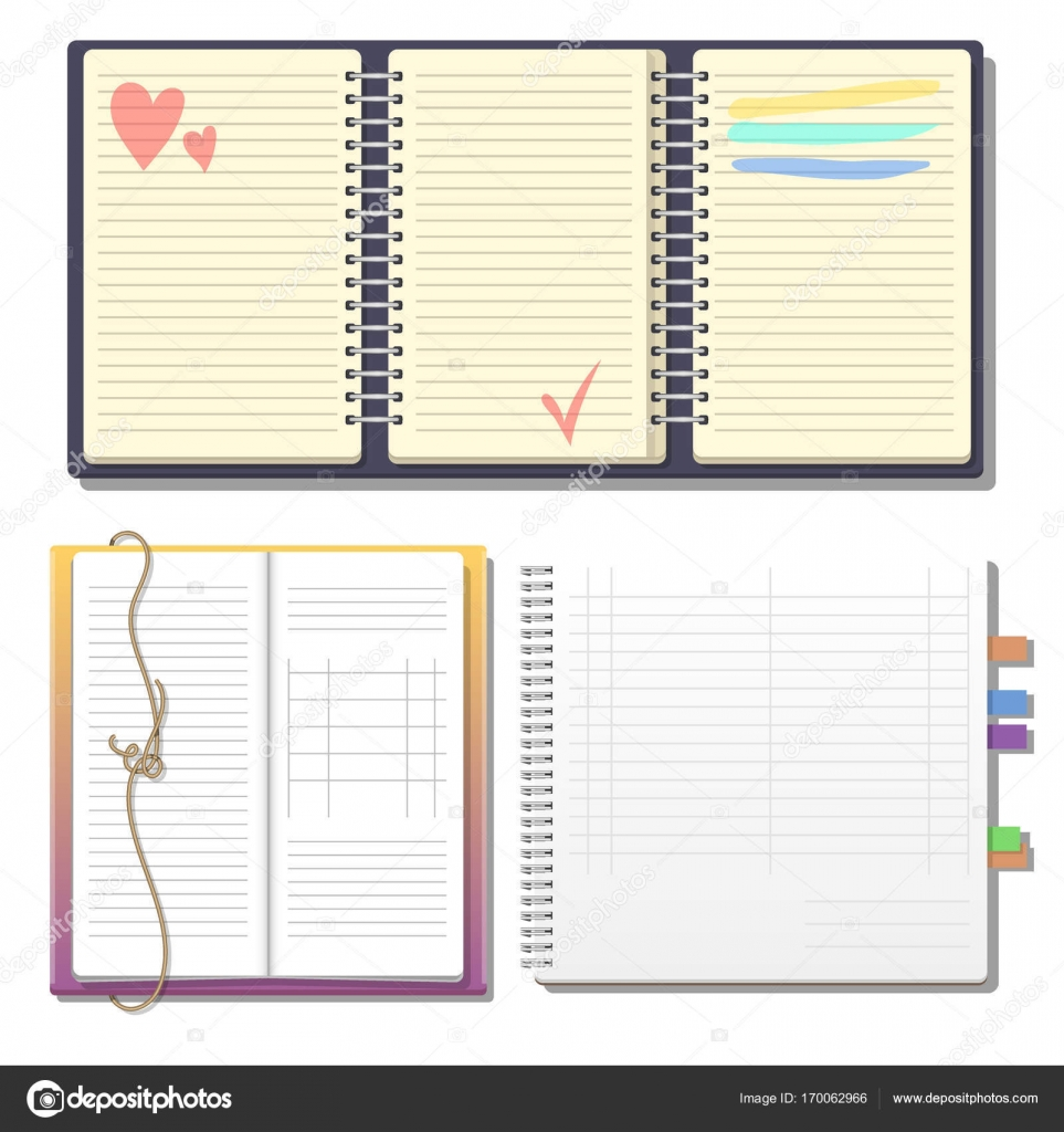 Set of open realistic notebooks with pages diary office sheet ...