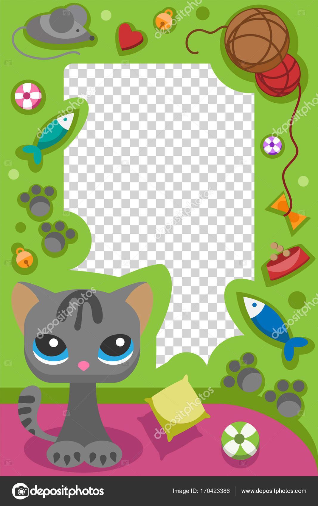 Cute Happy Birthday Cat Photo Frame Design Baby Kitty Celebration Vector Illustration Stock