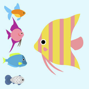 Exotic tropical fish race different breed colors underwater ocean species aquatic strain nature flat vector illustration.