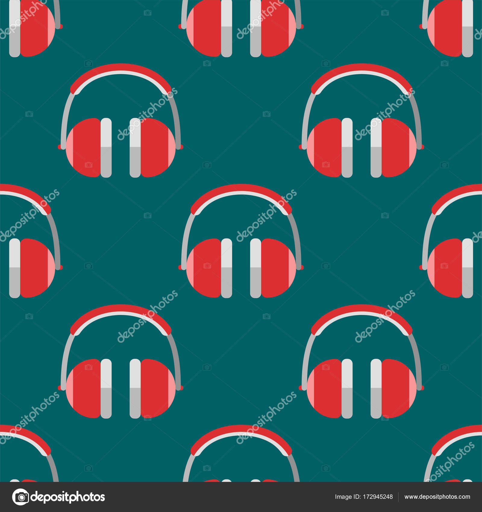 Vector Headphones Background Hip Hop Seamless Pattern Musician Expressive Rap Music Instrument Stock
