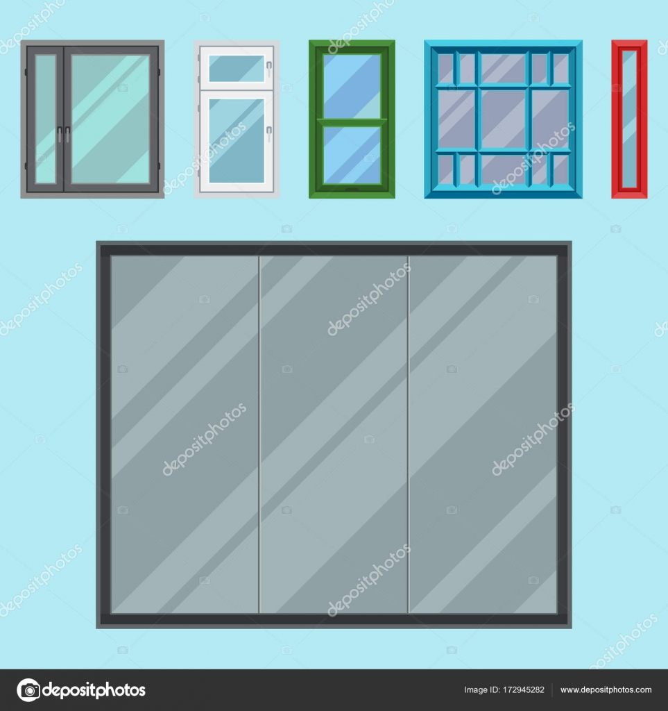 house windows types elements different types house windows elements flat style frames construction decoration apartment vector illustration stock