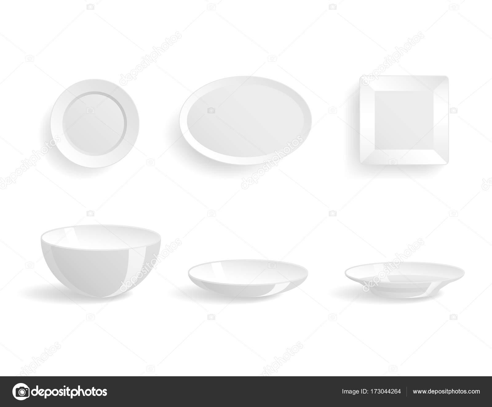 Leere weiße Teller set isoliert Vektor Illustration Vorlagen ...