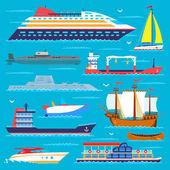 Nave cruiser barca mare trasporto simbolo nave viaggio vettoriale Barche a vela da crociera insieme di marine