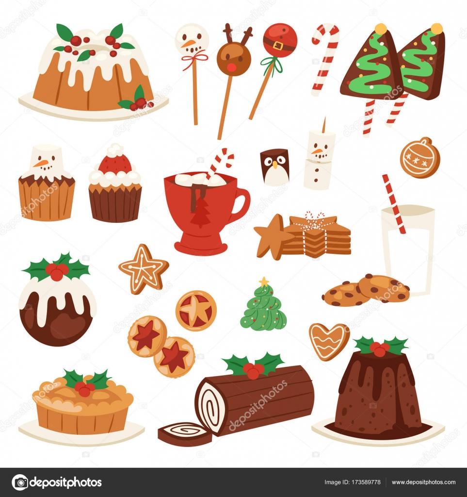 Decorazioni Natalizie X Dolci.Dolci Natalizi Cibo Vector Holiday Illustrazione Pasto Dolce