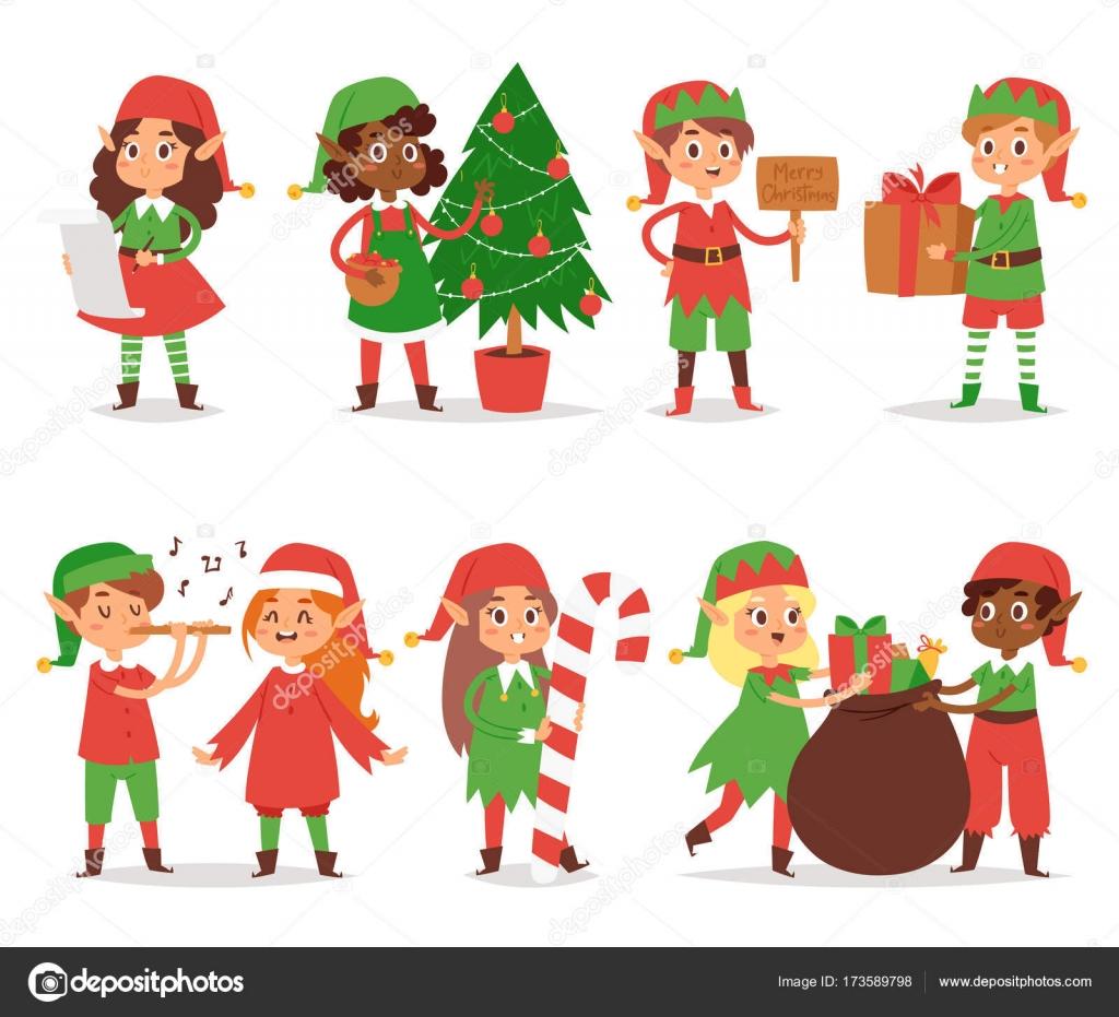 Weihnachten Kinder.Weihnachten Elfen Kinder Vektor Kinder Weihnachtsmann Helfer Cartoon