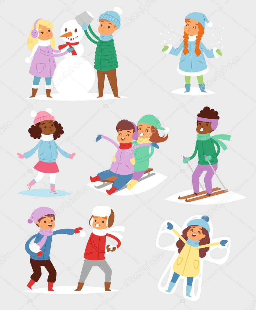 Winter Christmas vector kids playing games outdoor street playground children wintertime kids playing sport games of kinds snowball, skating. stock vector